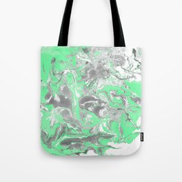 Light green and gray Marble texture acrylic paint art Tote Bag