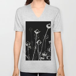 Graphic art. White ink and black cardboard. Flowers Unisex V-Neck