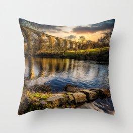 Railway Viaduct Sunset Throw Pillow
