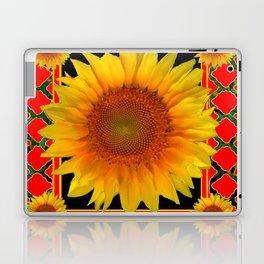 RED-TEAL BLACK  DECO YELLOW SUNFLOWERS Laptop & iPad Skin