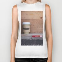 cigarettes Biker Tanks featuring Cigarettes and coffee by RMK Creative