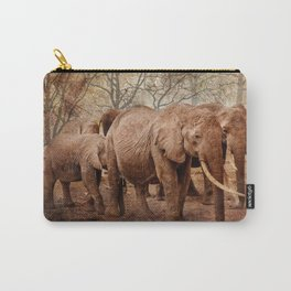 Elephants family on a walk Carry-All Pouch
