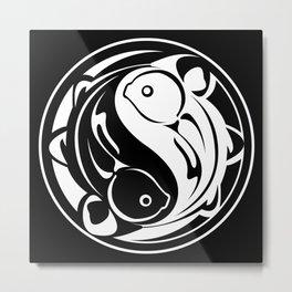 Yin Yang Fish:  Black & White Metal Print
