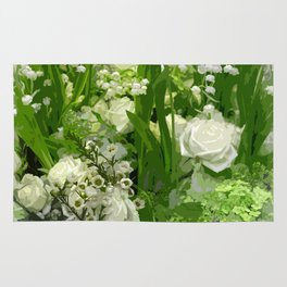 Floral Art In Green And White Rug