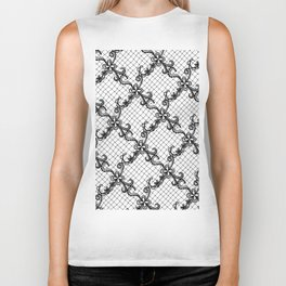 Floral Lace Hand Drawn in Black and White Biker Tank