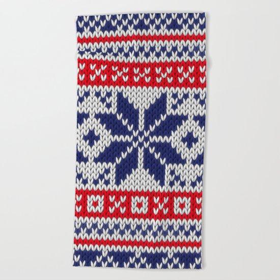Winter knitted pattern 7 Beach Towel