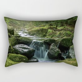 Flowing Creek, Green Mossy Rocks, Forest Nature Photography Rectangular Pillow