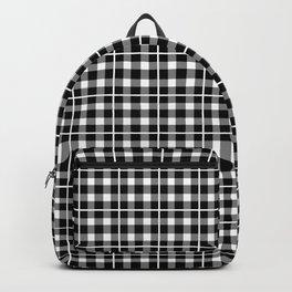 Black and White Checker Print Gingham Plaid Backpack