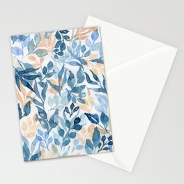 Watercolor leaves and floral pattern Stationery Cards