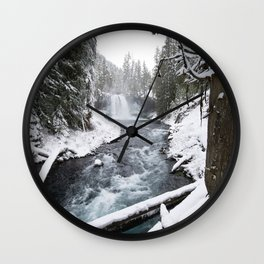 The Wild McKenzie River Waterfall - Nature Photography Wall Clock