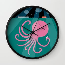 Octopus Selfie at Night Wall Clock
