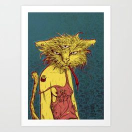 Third eye cat Art Print