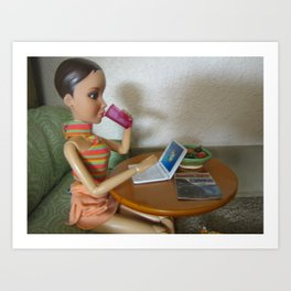 On The Laptop Art Print