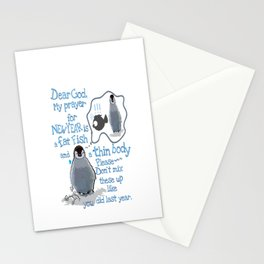 Baby penguins Funny New Year's resolution Stationery Cards