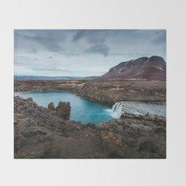 Lake Mountain sky blue Throw Blanket