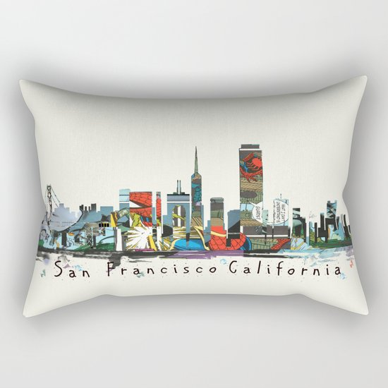 san francisco skyline comic Rectangular Pillow