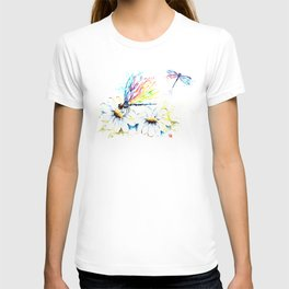 Dragonflies in a Garden - Watercolor Painting T-shirt