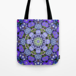Garden mosaic kaleidoscope mandala - cool blues 2 Tote Bag