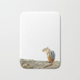 Little Chip - a painting of a Chipmunk by Teresa Thompson Bath Mat