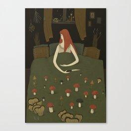 mushroom bed Canvas Print