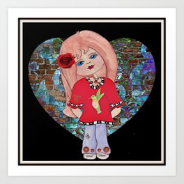 Hummingbird Girl Art Print