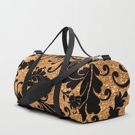 Vintage black faux gold glitter floral damask pattern Duffle Bag