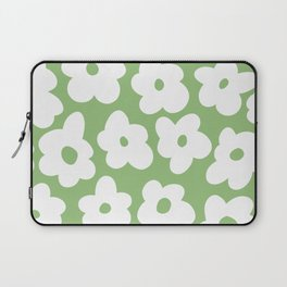 Psychedelic Sage Green 60's Flowers Laptop Sleeve