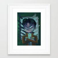 levi Framed Art Prints featuring Grumpy Levi by BomberBee