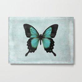Turquoise Aqua Blue Green Butterfly Metal Print