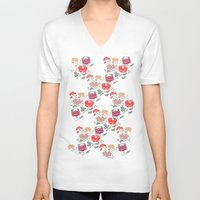 peonies V-neck T-shirts featuring Recolour Peonies by Julia Minamata