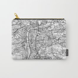 Prague City Map Czechia White and Black Carry-All Pouch