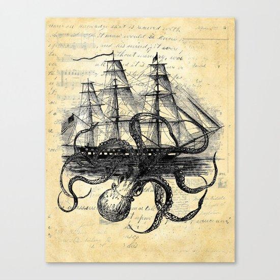 Kraken Octopus Attacking Ship Multi Collage Background Canvas Print