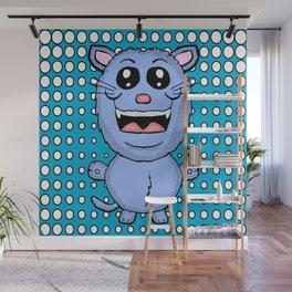 Funny Blue Cat Wall Mural