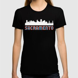 Red White Blue Sacramento California Skyline T-shirt