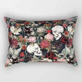 Vintage Floral With Skulls Rectangular Pillow