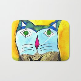 Green eyed cat with butterfly bow tie Bath Mat
