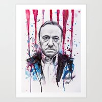 frank underwood Art Prints featuring Frank Underwood - House of Cards by Denise Esposito