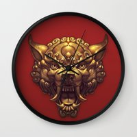 foo fighters Wall Clocks featuring Foo Wolf Red by Ilse Gort