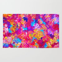 jazzberry Area & Throw Rugs featuring FLORAL FANTASY Bold Abstract Flowers Acrylic Textural Painting Neon Pink Turquoise Feminine Art by EbiEmporium