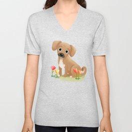 "Custom Cute Dog Art ""Riley"" Unisex V-Neck"
