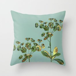 botanical with gold leaf  Throw Pillow