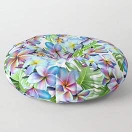 Rainbow Plumeria Pattern Floor Pillow