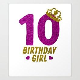 Princess 10Th Birthday Shirt For Girls 2008 10 Year Old Gift Art Print