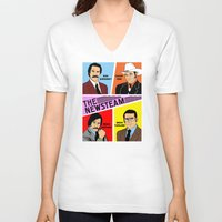 anchorman V-neck T-shirts featuring The Newsteam - Anchorman by Buby87