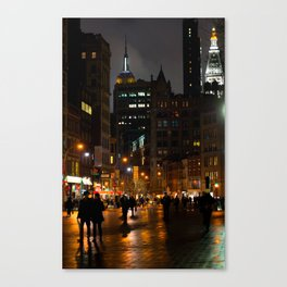 Rainy Night In Union Square Canvas Print