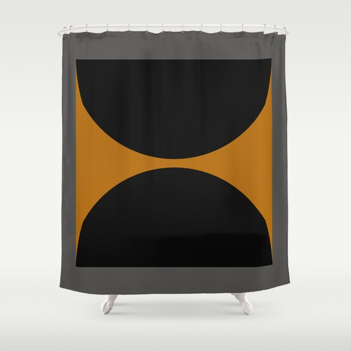 Black and Gray Gradient with Gold Squares and Half Circles Digital Illustration - Artwork Shower Curtain