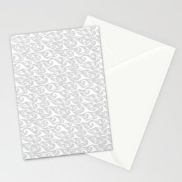 Waves - White on Gray Stationery Cards