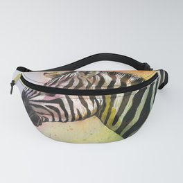Colorful Zebra Watercolor Fanny Pack