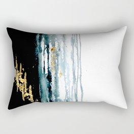 Teal and Gold Rain Rectangular Pillow