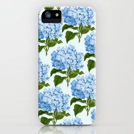 Blue hydrangea print - floral print iPhone Case